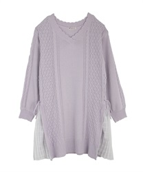 Side pleated knit tunic(Lavender-Free)