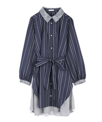 Back stripe tunic(Navy-Free)
