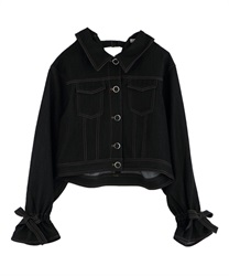 Back design denim jacket(Black-Free)