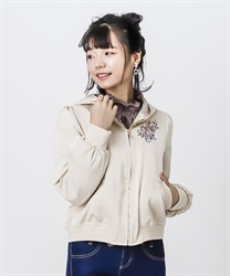 Back lace-up blouson(Beige-Free)