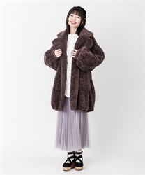 Boa long cocoon coat(Mocha-Free)