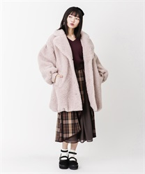 Boa long cocoon coat