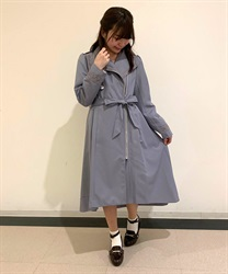 Asymmetric Design Trench Coat(Grey-Free)