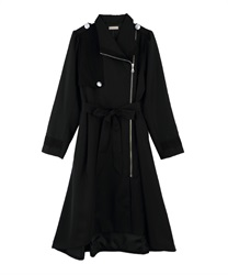Asymmetric Design Trench Coat(Black-Free)