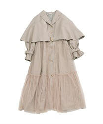 Cape tulle trench coat(Beige-Free)