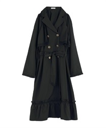 Double button trench style raincoat(Black-Free)