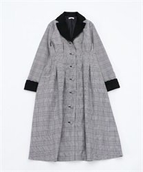 Check pattern dress style coat(Black-Free)