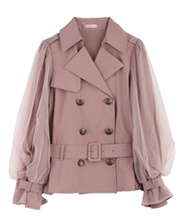 Short trench coat with tulle(Pale pink-Free)