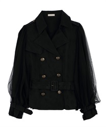 Short trench coat with tulle(Black-Free)