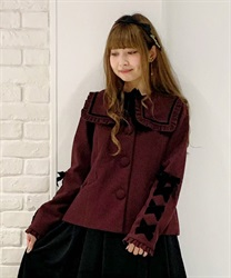 Black ribbon short coat(Wine-Free)