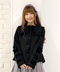 Black ribbon short coat(Black-Free)