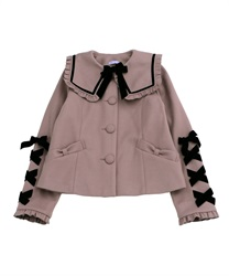 Black ribbon short coat(Lavender-Free)