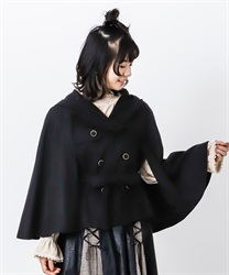 Hoodie cape short coat(Black-Free)