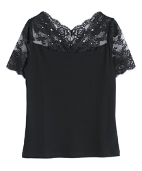 【2Buy20%OFF】Decollete Lace Short Sleeve Underwear(Black-Free)