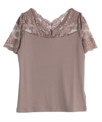 【2Buy20%OFF】Decollete Lace Short Sleeve Underwear(Mocha-Free)