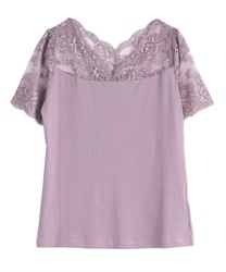 【2Buy20%OFF】Decollete Lace Short Sleeve Underwear(Lavender-Free)