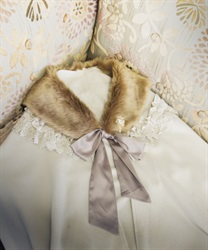 Stole with fur tippet(Beige-M)