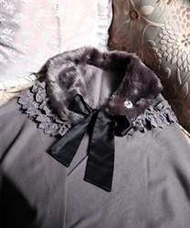 Stole with fur tippet(Grey-M)