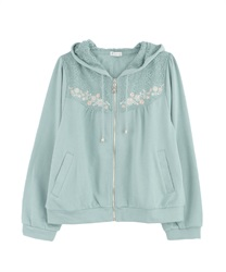 Embroidered hoodie(Green-Free)