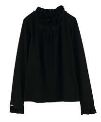 Short Turtleneck Stretchy Pullover with Frills(Black-Free)