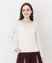 Long sleeve inner with lace(Ecru-Free)