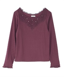 Long sleeve inner with lace(Wine-Free)