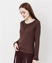 Long sleeve inner with lace(Brown-Free)