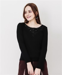 Long sleeve inner with lace(Black-Free)