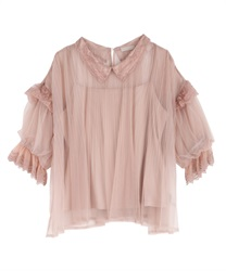 Tulle Volume Sleeve Blouse(Pale pink-Free)
