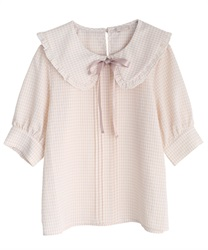 Checkered frills blouse(Pale pink-Free)