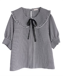 Checkered frills blouse(Black-Free)