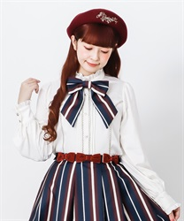 Stripe ribbon tie blouse(White-Free)