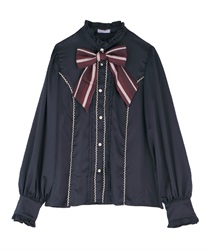 Stripe ribbon tie blouse(Navy-Free)