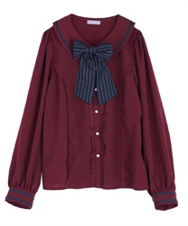 Stripe ribbon blouse(Wine-Free)