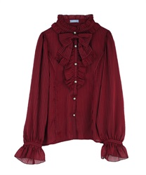 Stripe ciffon blouse(Wine-Free)
