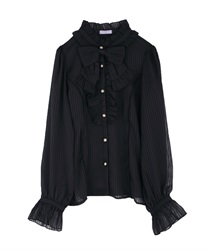 Stripe ciffon blouse(Black-Free)