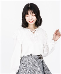 【2Buy10%OFF】Lace Sailor Collar Blouse(Ecru-Free)