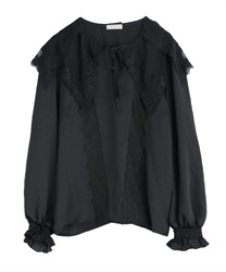 【2Buy10%OFF】Lace Sailor Collar Blouse(Black-Free)