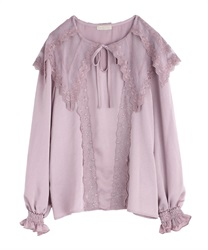 【2Buy10%OFF】Lace Sailor Collar Blouse(Lavender-Free)
