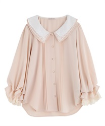 【2Buy10%OFF】Lace collar blouse(Pale pink-Free)