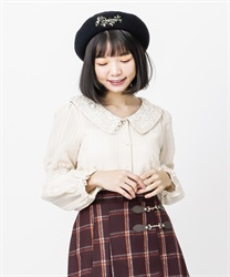 Lace collar velor stripe blouse(Beige-Free)