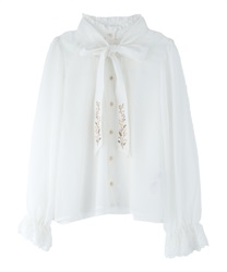 Mimosa Embroidery Bow Tie Blouse(White-Free)