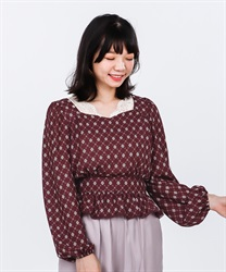 【2Buy10%OFF】Vintage Patterned Blouse(Wine-Free)