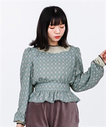 Vintage Patterned Blouse(Green-Free)