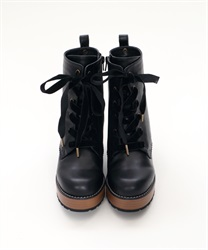 【Global Price】Lace-up boot(Black-S)
