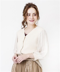 Pleated Sleeve Cut Cardigan(Ecru-Free)