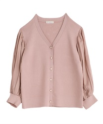 Pleated Sleeve Cut Cardigan(Pale pink-Free)