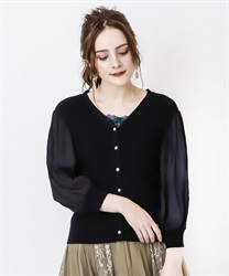 Pleated Sleeve Cut Cardigan(Black-Free)
