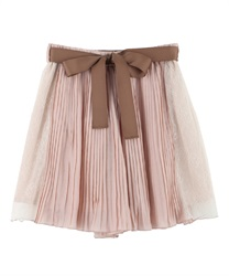 Pleated Shorts with Side Lace(Pale pink-Free)
