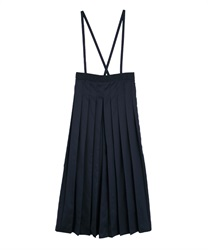 Pleated long pants with sash(Navy-Free)